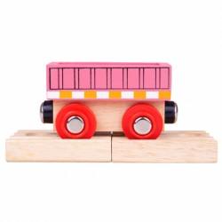 BIGJIGS TOYS Wagon Drewniany RÓŻOWY WAGON BJT484