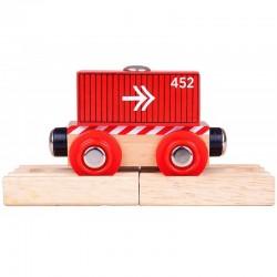 BIGJIGS TOYS Wagon Drewniany CZERWONY WAGON ZE STRZAŁKAMI BJT485