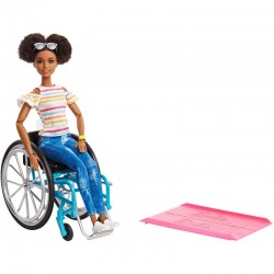 MATTEL Lalka Barbie Fashionistas BARBIE NA WÓZKU INWALIDZKIM AFROAMERYKANKA GGV48