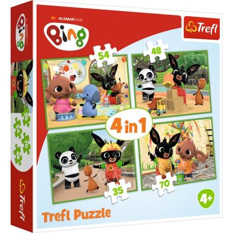 TREFL Puzzle Układanka 4w1 BING Wesoły Dzień Binga 34335