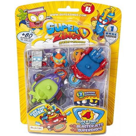 Magic Box Toys SUPER ZINGS Seria 4 BlasterJets 4 Figurki z Pojazdami 9468