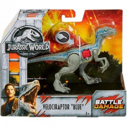 Mattel JURASSIC WORLD Battle Damage VELOCIRAPTOR BLUE FNB33
