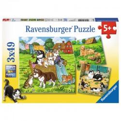 RAVENSBURGER Puzzle 3x49 SŁODKIE PIESKI I KOTKI NA WSI 080021
