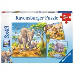 RAVENSBURGER Puzzle 3x49 Dzikie Zwierzęta ZWIERZĘTA W DŻUNGLI 080038