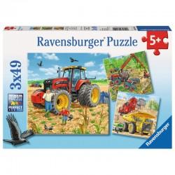 RAVENSBURGER Puzzle 3x49 OGROMNE MASZYNY 080120