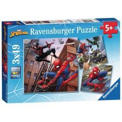 RAVENSBURGER Puzzle Układanka 3x49 SPIDER MAN W AKCJI 080250