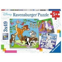 RAVENSBURGER Puzzle Układanka 3x49 DISNEY PRZYJACIELE 080434