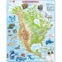 LARSEN PUZZLE Mapa Fizyczna Ameryki Północnej Język Niemiecki 00097