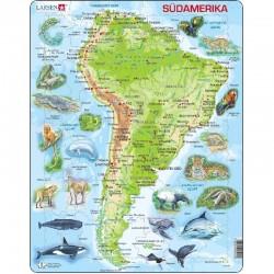 LARSEN PUZZLE Mapa Fizyczna Ameryki Południowej Język Niemiecki 19258
