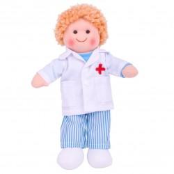 Bigjigs Toys - BJD010 - Lalka Szmaciana 28 cm - Doktor Tommy - Tomek