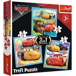 TREFL Puzzle Układanka CARS Auta Samochodziki 3w1 34848