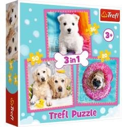 TREFL Puzzle Układanka 3w1 PIESKI W KĄPIELI 34845