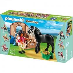 PLAYMOBIL 5519 COUNTRY Koń Fryzyjski z Boksem - Rusty