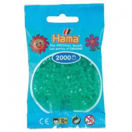 Hama - Mini - 50116 - Koraliki Zielone Transparentne - Zestaw Uzupełniający 2000 szt.