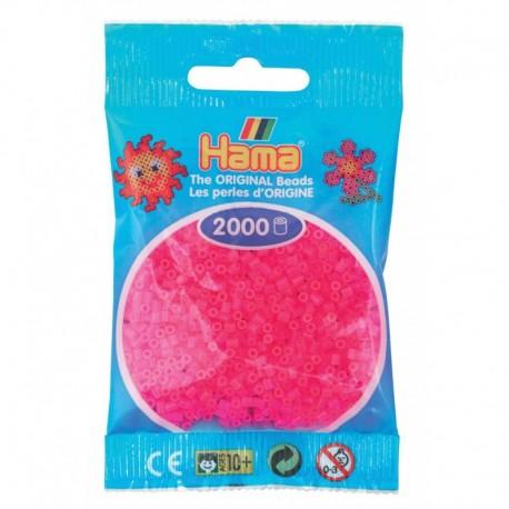 Hama - Mini - 50132 - Koraliki Różowe Neonowe - Zestaw Uzupełniający 2000 szt.