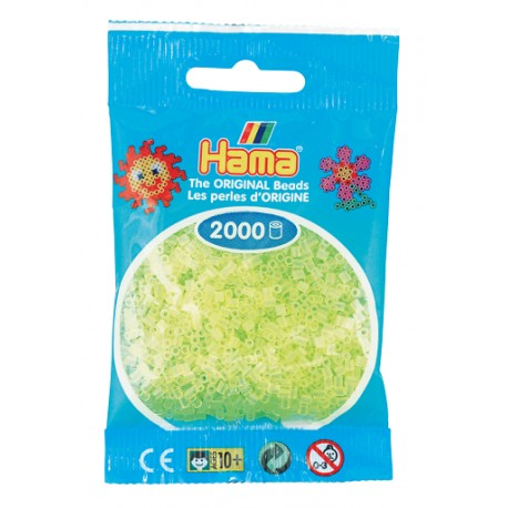 Hama - Mini - 50134 - Koraliki Żółte Neonowe - Zestaw Uzupełniający 2000 szt.