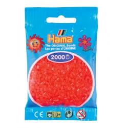 Hama - Mini - 50135 - Koraliki Czerwone Neonowe - Zestaw Uzupełniający 2000 szt.