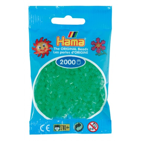 Hama - Mini - 50137 - Koraliki Zielone Neonowe - Zestaw Uzupełniający 2000 szt.