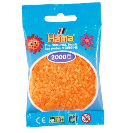 Hama - Mini - 50138 - Koraliki Jasne Pomarańczowe Neonowe - Zestaw Uzupełniający 2000 szt.