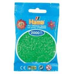 Hama - Mini - 50142 - Koraliki Zielone Fluorescencyjne - Zestaw Uzupełniający 2000 szt.