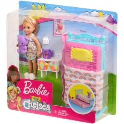 Mattel Lalka Barbie Club Chelsea SYPIALNIA+MEBELKI Bedtime FXG83