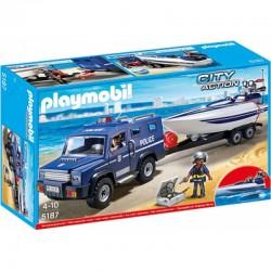 PLAYMOBIL 5187 CITY ACTION Pojazd Terenowy Policji z Motorówką