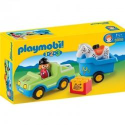 PLAYMOBIL 6958 PLAYMOBIL 1.2.3 Samochód z Przyczepą dla Konia