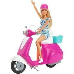 Mattel Lalka Barbie BLONDYNKA NA SKUTERZE Barbie + Akcesoria GBK85