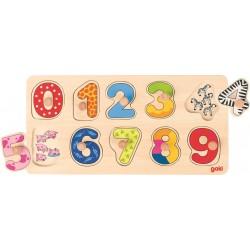 Goki - 57480 - Drewniane Puzzle z Uchwytami 10 - Cyferki