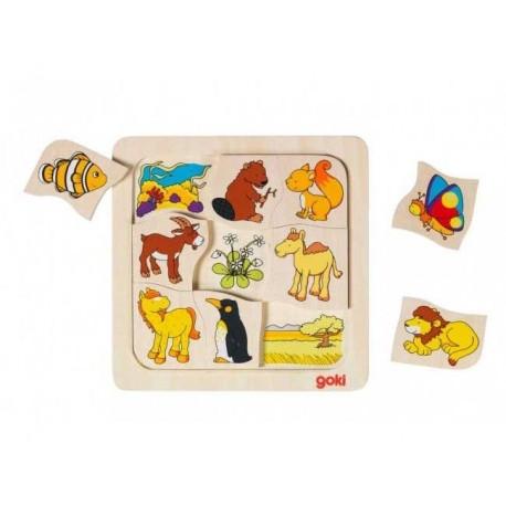 Goki - 56725 - Puzzle Drewniane 9 - Puzzle Zwierzątka - Kto Gdzie Mieszka?