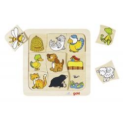Goki - 56881 - Puzzle Drewniane 9 - Puzzle Zwierzątka - Kto Gdzie Mieszka?