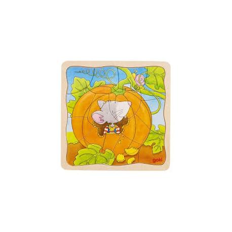 Goki - 57494 - Puzzle Drewniane 54 - Puzzle Warstwowe - Dynia
