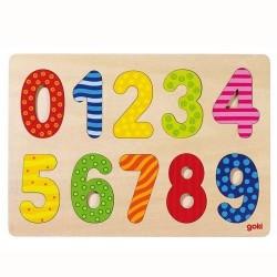 Goki - 57574 - Drewniane Puzzle - Układanka - Cyferki