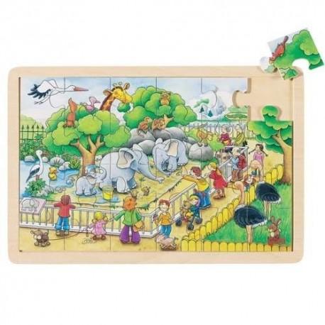 Goki - 57808 - Puzzle Drewniane 24 - Wesołe ZOO