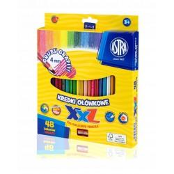 ASTRA Kredki Ołówkowe z Temperówką 48 Kolorów GRUBY GRAFIT 8139