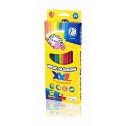 ASTRA Kredki Ołówkowe z Temperówką 12 Kolorów GRUBY GRAFIT 8146