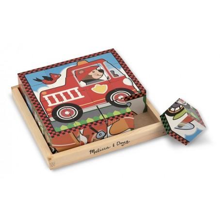 Melissa & Doug - 10772 - Klocki - Puzzle Drewniane - Pojazdy