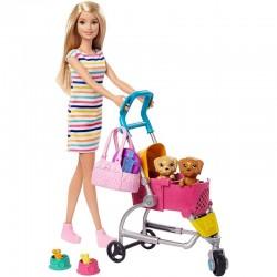 Mattel BARBIE Lalka z Wózkiem dla Piesków GHV92