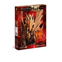 CLEMENTONI Puzzle 1000 el. Anne Stokes Collection INNER STRENGTH DZIEWCZYNA I SMOK 39464