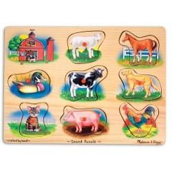 Melissa & Doug - 10268 - Układanka - Puzzle Dźwiękowe - Farma