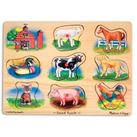 MELISSA & DOUG 10268 - Układanka Drewniana - Puzzle Dźwiękowe - FARMA