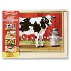 Melissa & Doug - 13793 - Układanka - Puzzle Drewniane w Pudełku - Zwierzęta z Farmy