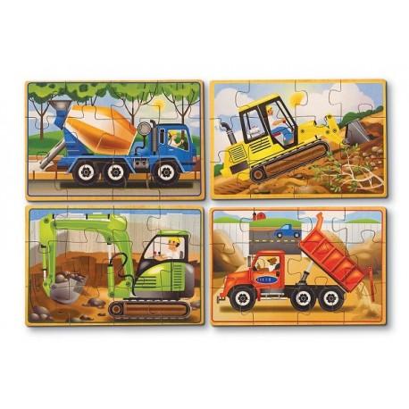Melissa & Doug - 13792 - Układanka - Puzzle Drewniane w Pudełku - Pojazdy Budowlane
