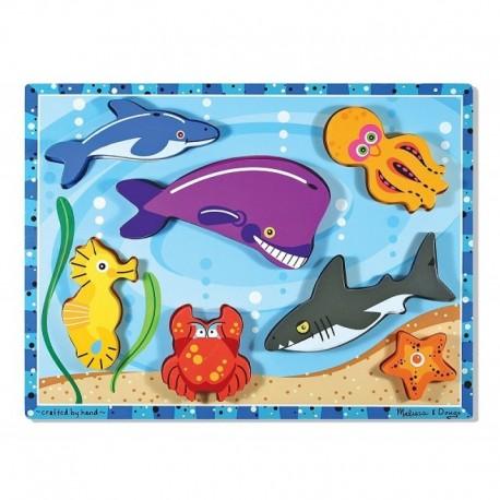 Melissa & Doug - 13728 - Układanka - Puzzle Drewniane - Zwierzątka Morskie