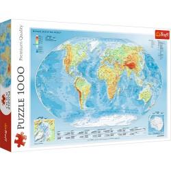 TREFL Puzzle 1000 el. Premium Quality MAPA FIZYCZNA ŚWIATA 10463