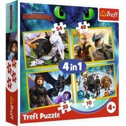 TREFL Puzzle Układanka 4w1 JAK WYTRESOWAĆ SMOKA 34341