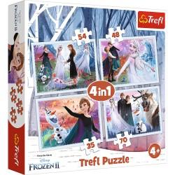 TREFL Puzzle Układanka 4w1 FROZEN 2 KRAINA LODU 2 W Magicznym Lesie 34344