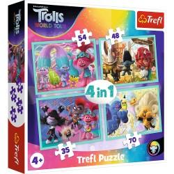 TREFL Puzzle Układanka 4w1 TROLLS TROLE Trasa Koncertowa Troli 34336