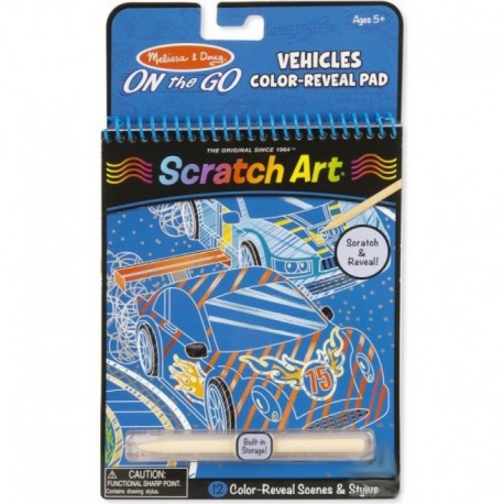 Melissa & Doug - 19141 - Scratch Art - On The Go - Kolorowanka - Zdrapki - Pojazdy