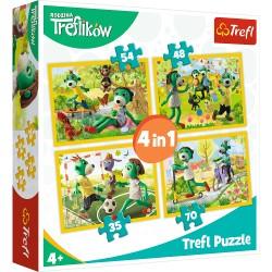 TREFL Puzzle Układanka 4w1 RODZINA TREFLIKÓW Wspólne Zabawy Treflików 34337
